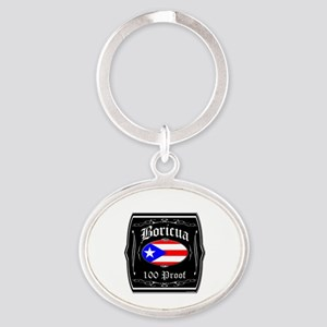 Boricua 100 Proof Oval Keychain